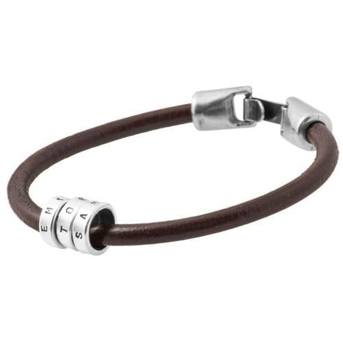 Leather Bracelet & Personalised Silver Rings