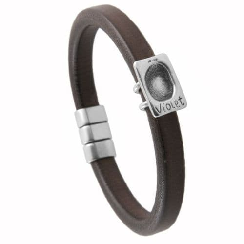 Men's Leather Fingerprint Bracelet