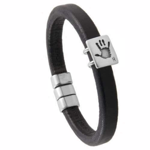 Men's Leather Hand print Bracelet