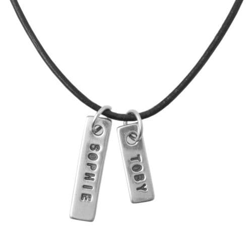 Name Tag Leather Necklace