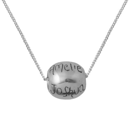 Personalised Round Silver Bead Necklace