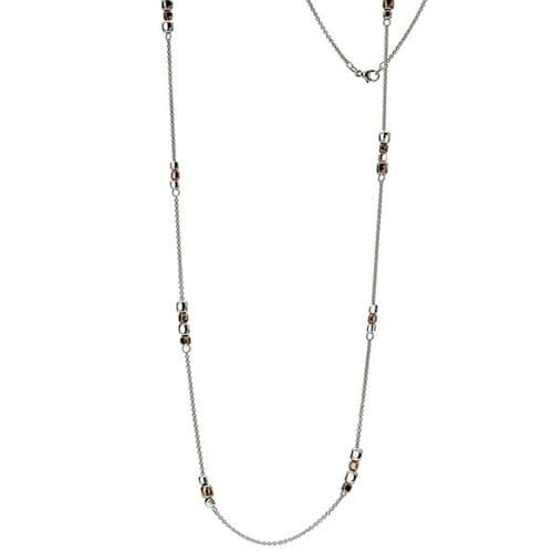 Silver & Rose Bead Necklace