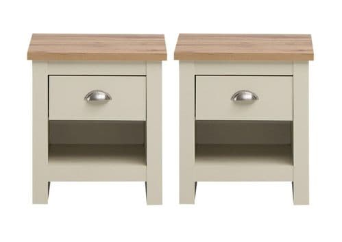 2 x Nightstand with 1 Drawer