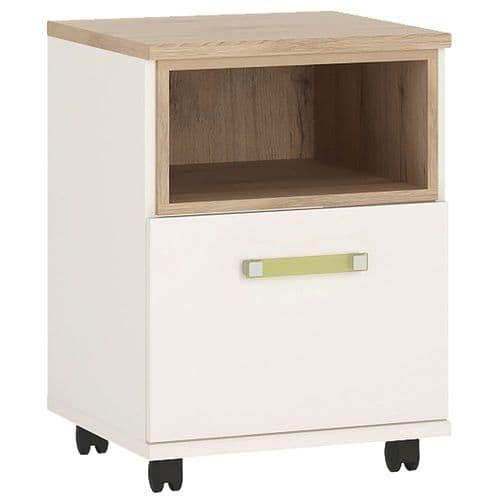 4KIDS 1 door desk mobile in light oak and white high glosses