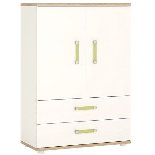 4KIDS 2 door 2 drawer cabinet in light oak and white high gloss