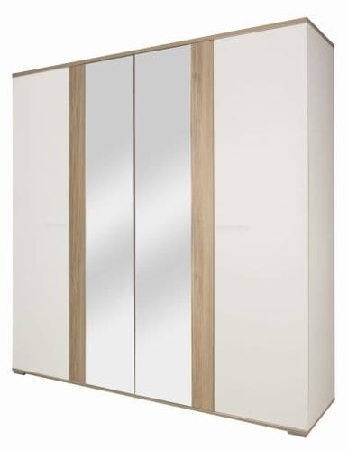 Arcane White and Cedar Effect Wardrobe 4 Doors