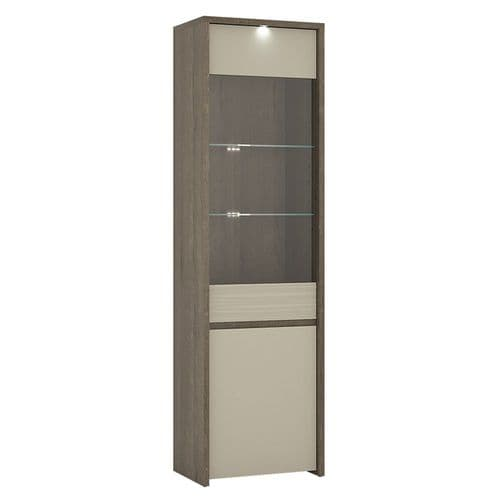 Aspen 2 Door Tall Glazed Display Cabinet (Inc LED lighting) in Riviera Oak