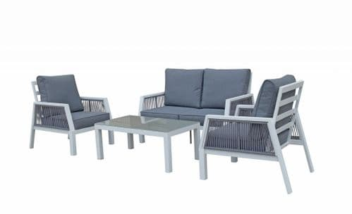 Bettina 4 seat sofa set in white powder coat with rope weaving in the arms