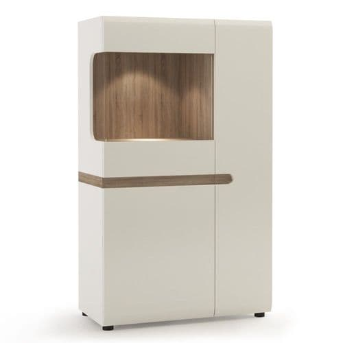 Chelsea Living Low Display Cabinet 85 cm wide in white with an Truffle Oak Trim