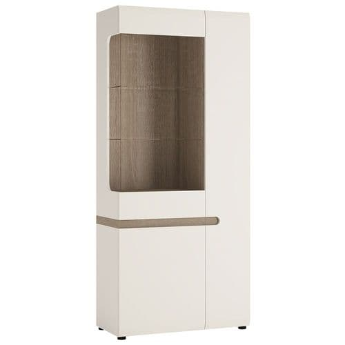 Chelsea Living Tall Glazed Wide Display unit (RHD) in white with an Truffle Oak Trim