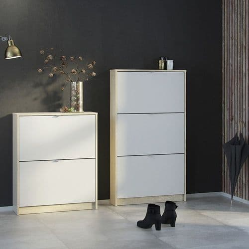Shoes Shoe cabinet w. 2 tilting doors and 1 layer in Oak structure White