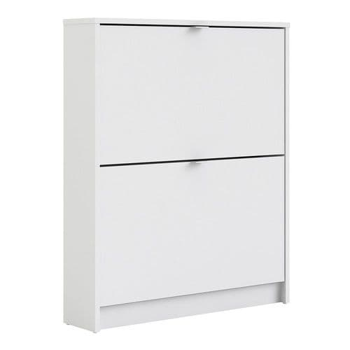 Shoes Shoe cabinet w. 2 tilting doors and 1 layer in White
