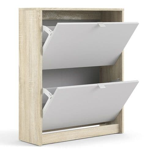 Shoes Shoe cabinet w. 2 tilting doors and 2 layers in Oak structure White