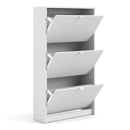 Shoes Shoe cabinet w. 3 tilting doors and 2 layers in White