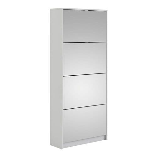 Shoes Shoe cabinet w. 4 mirror tilting doors and 2 layers in White