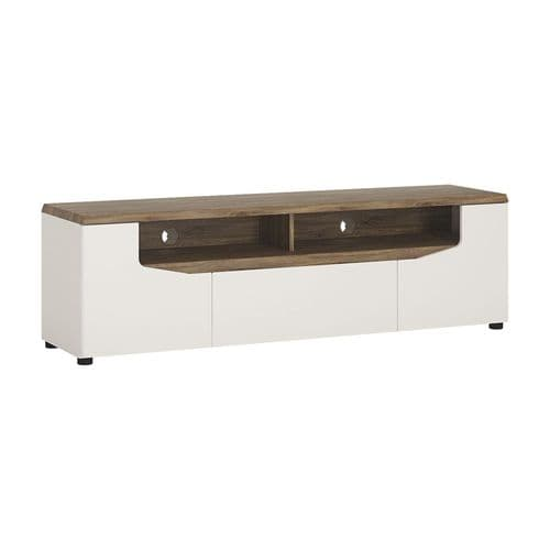 Toledo Wide 2 door 1 drawer TV unit in Alpine White with high gloss fronts and Stirling Oak