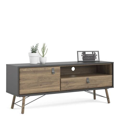 TV-unit 1 door + 1 drawer in Matt Black Walnut