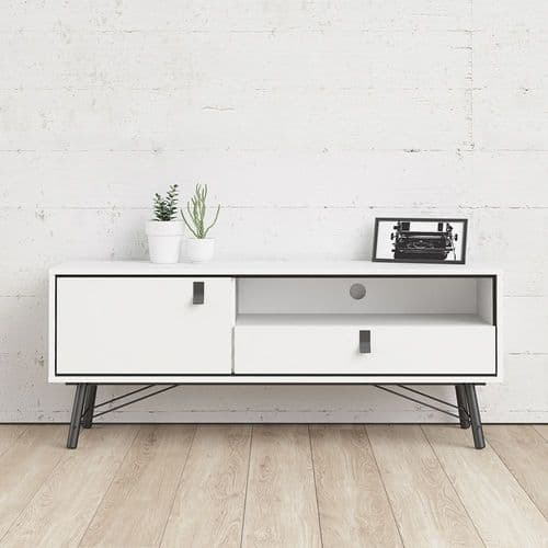 TV-unit 1 door + 1 drawer in Matt White