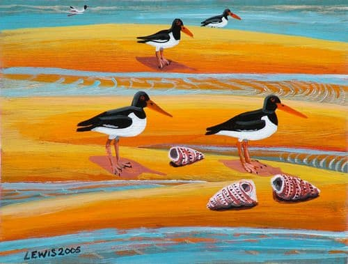 Bird Art Prints by Brian Lewis, Oyster Catchers