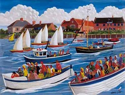 Burnham Overy Art Prints by Brian Lewis, Boats II, Burnham Overy Staithe