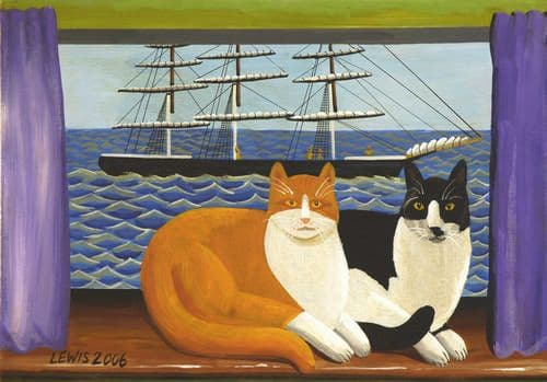 Cat Art Prints by Brian Lewis, Two Fat Cats