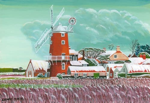 Cley Art Prints by Brian Lewis, October Snow, Cley-Next-The-Sea
