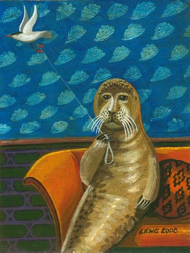Seal Art Prints by Brian Lewis, Hermit Mollusc and His Tern Called Kite