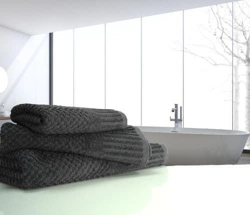 linenHall Spa, Quick Dry 450gsm Waffle Spa Bath Towel In Charcoal Grey