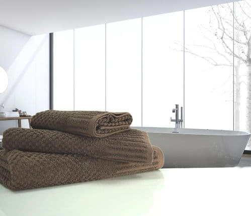 linenHall Spa, Quick Dry 450gsm Waffle Spa Bath Towel In Chocolate Brown