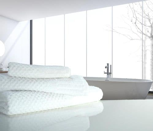 linenHall Spa, Quick Dry 450gsm Waffle Spa Extra Long Bath Sheet In White