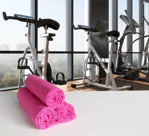 Microfibre Gym or Sweat Towel 30cm x 120cm in Hot Pink