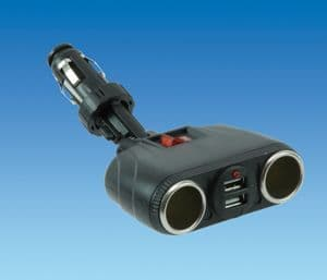 Double USB & Cigarette Socket with Switch