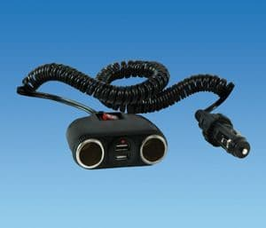 Double USB & Cigarette Socket with Switch & Extension