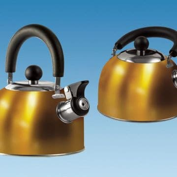 GOLD 1.6 Litre Gas Hob Kettle with Folding Handle