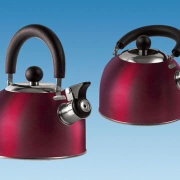 RED 1.6 Litre Gas Hob Kettle with Folding Handle
