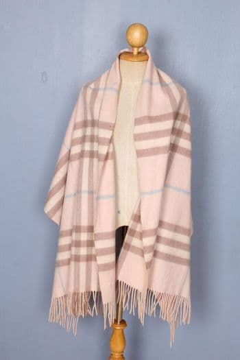 BURBERRY Shawl Pink Check Lambswool Authentic SH58