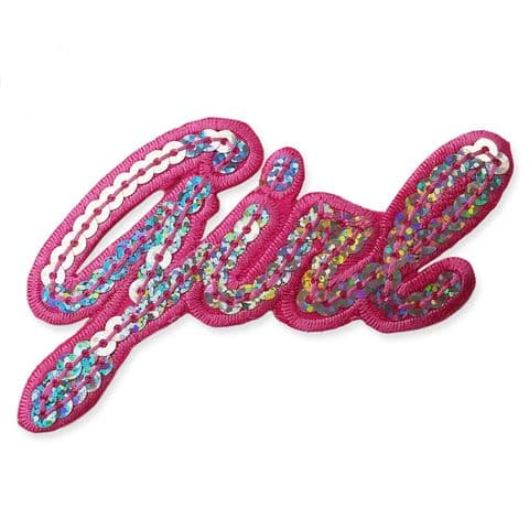 'GIRL' SEQUIN MOTIF IRON ON EMBROIDERED PATCH APPLIQUE