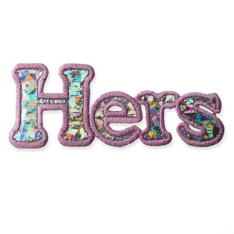 'HERS' SEQUIN MOTIF IRON ON EMBROIDERED PATCH APPLIQUE