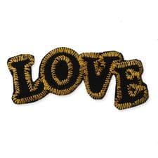 'LOVE' BLACK MOTIF IRON ON EMBROIDERED PATCH APPLIQUE