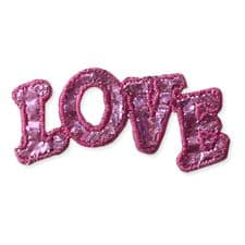 'LOVE' SEQUIN MOTIF IRON ON EMBROIDERED PATCH APPLIQUE