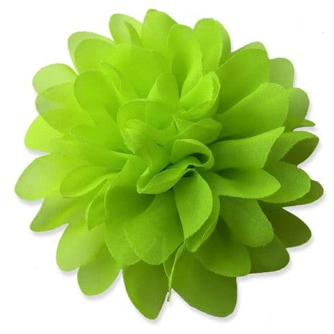 10cm Pompom Bloom NEON YELLOW Fabric Flower Applique