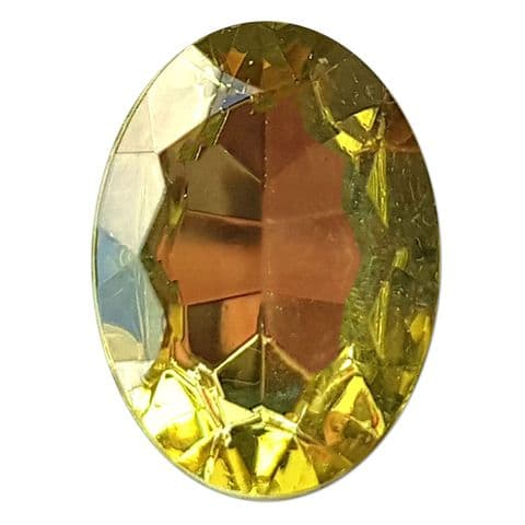 13mm x 18mm  YELLOW Oval Shape Acrylic Embellishment Gems