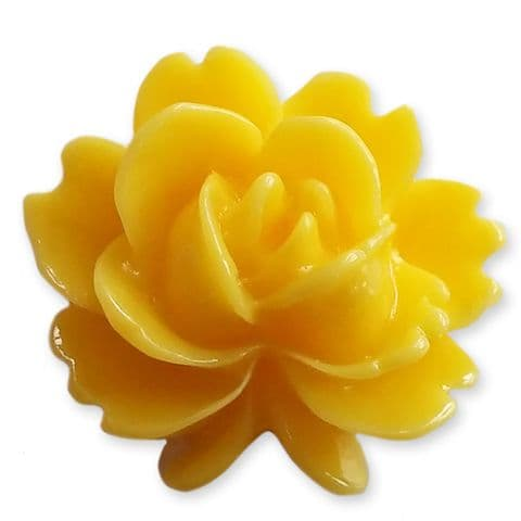 15mm YELLOW Shabby Rose Resin Flatback Cabochons