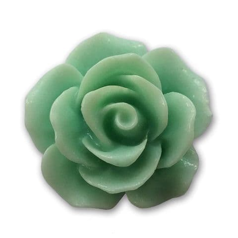 18mm Jade Green Resin Rose Bloom Cabochon