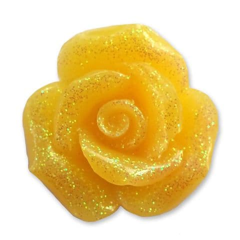 20mm GOLDEN Glitter Rose Resin Flatback Cabochon