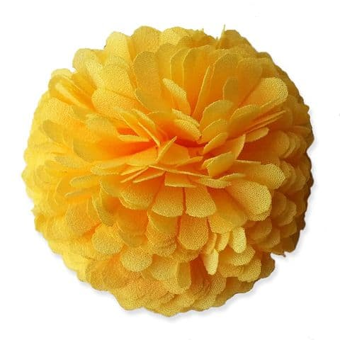 6cm Marigold PomPom YELLOW Fabric Flower Applique