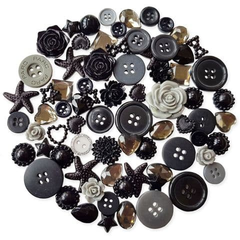 BLACK 50pcs Assorted Gems, Cabochons, buttons and Pearlised Flatbacks
