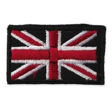 BLACK UNION JACK FLAG MOTIF IRON ON EMBROIDERED PATCH APPLIQUE