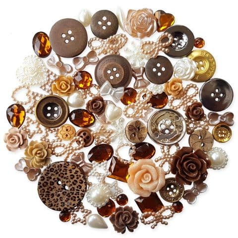 BROWN 50pcs Assorted Gems, Cabochons, buttons and Pearlised Flatbacks