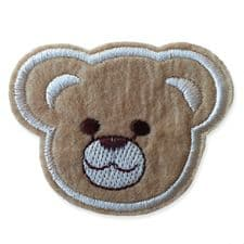 BROWN BEAR HEAD MOTIF IRON ON EMBROIDERED PATCH APPLIQUE